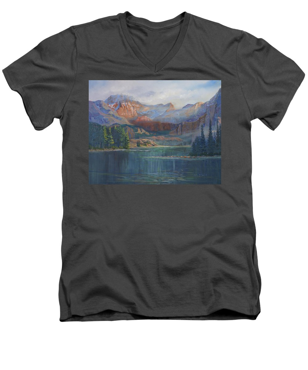 Capital Peak Men's V-Neck T-Shirt featuring the painting Capitol Peak Rocky Mountains by Heather Coen