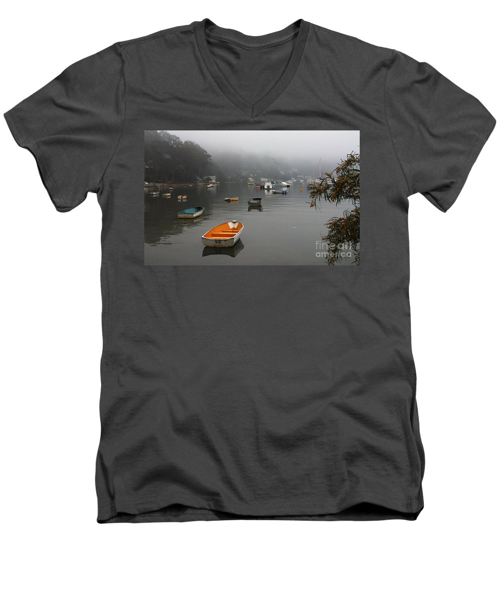 Mist Men's V-Neck T-Shirt featuring the photograph Careel Bay Mist by Avalon Fine Art Photography