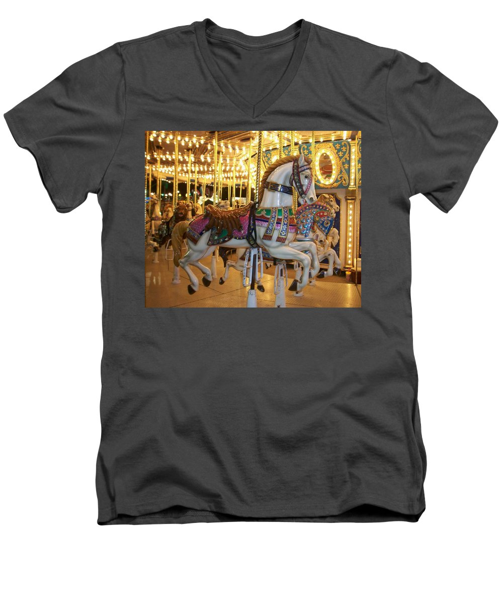 Carosel Horse Men's V-Neck T-Shirt featuring the photograph Carosel Horse by Anita Burgermeister