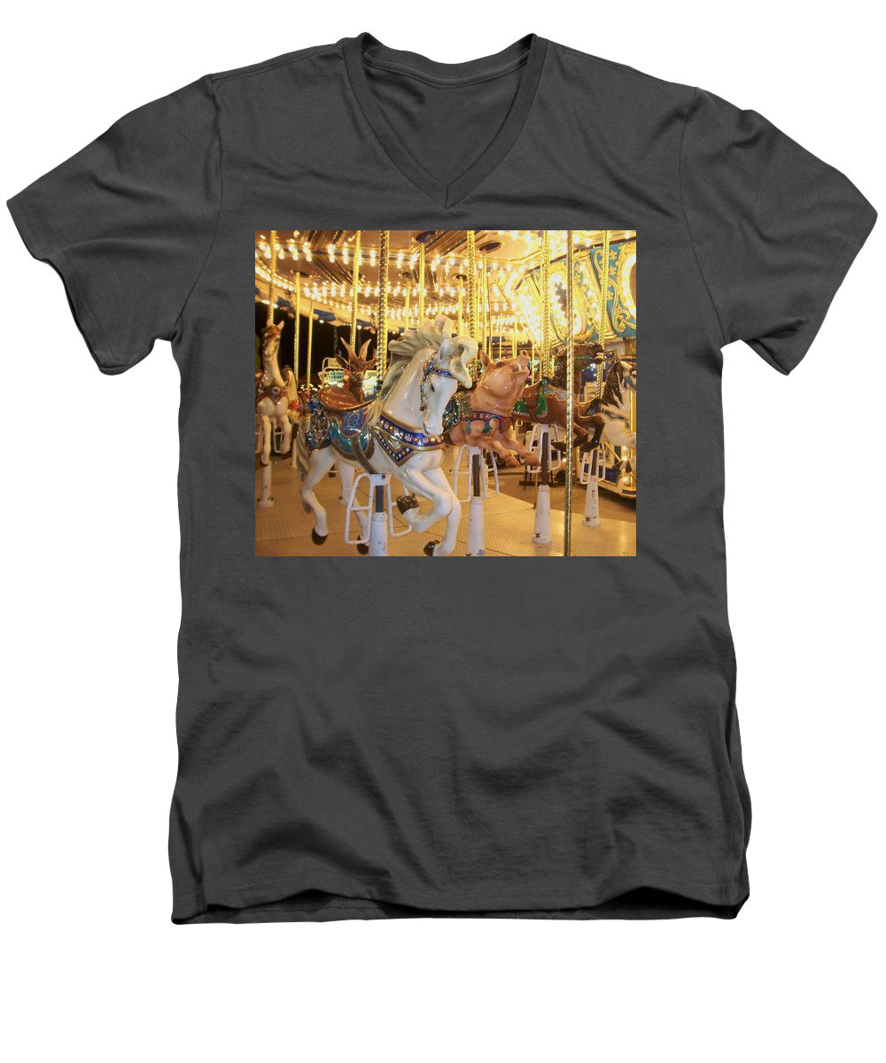 Carosel Horse Men's V-Neck T-Shirt featuring the photograph Carousel Horse 2 by Anita Burgermeister
