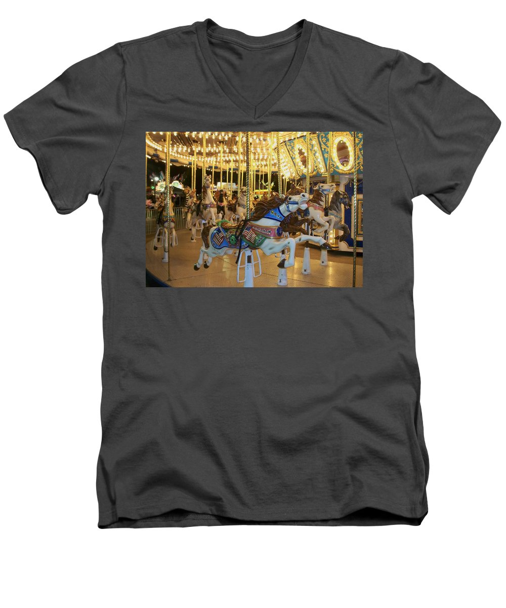 Carousel Horse Men's V-Neck T-Shirt featuring the photograph Carousel Horse 3 by Anita Burgermeister