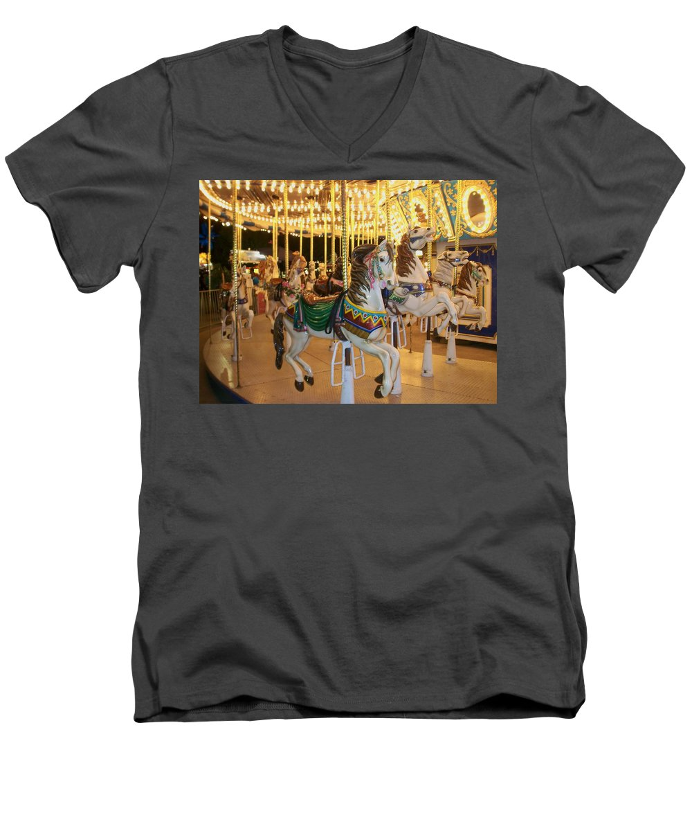 Carousel Horse Men's V-Neck T-Shirt featuring the photograph Carousel Horse 4 by Anita Burgermeister