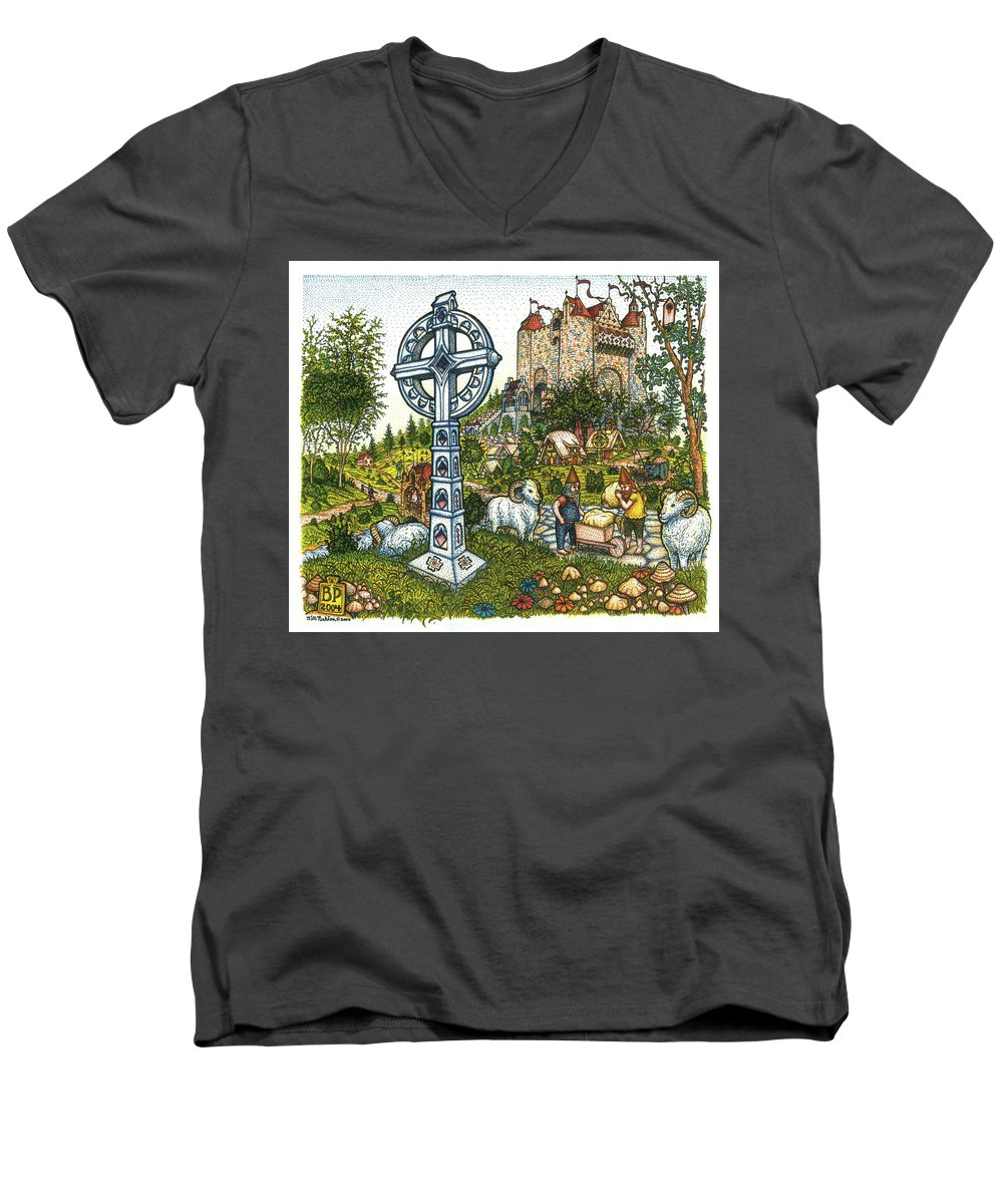 Castle Men's V-Neck T-Shirt featuring the drawing Castle Cross by Bill Perkins