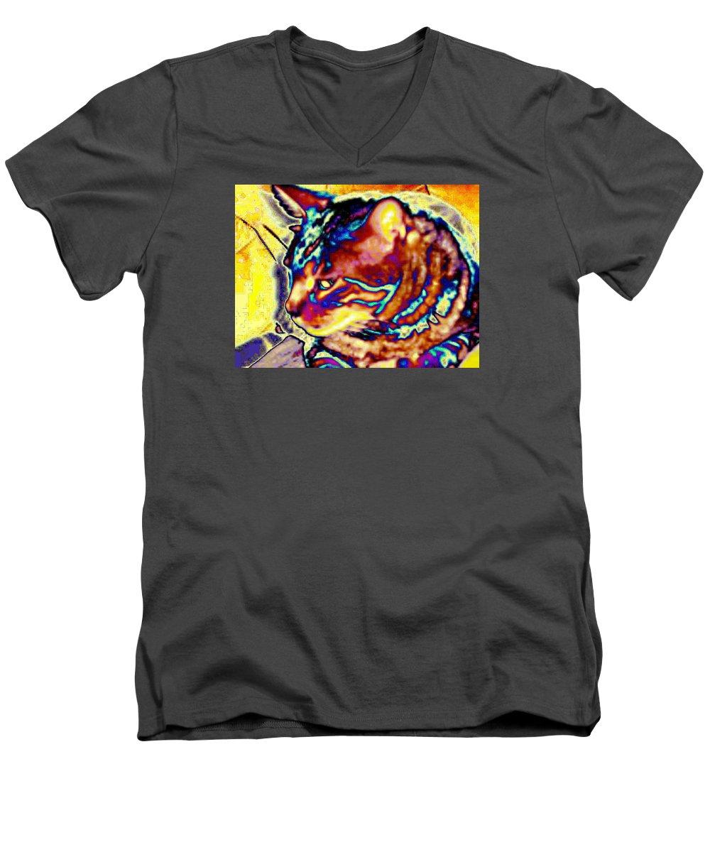 Cat Men's V-Neck T-Shirt featuring the photograph Cat Nap by Dawn Johansen