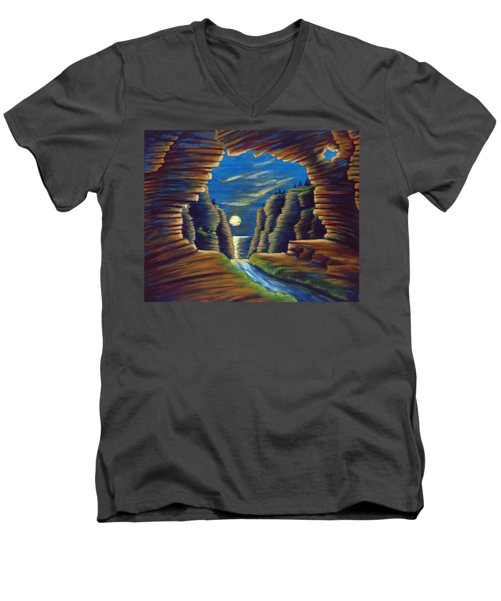 Cave Men's V-Neck T-Shirt featuring the painting Cave With Cliffs by Jennifer McDuffie