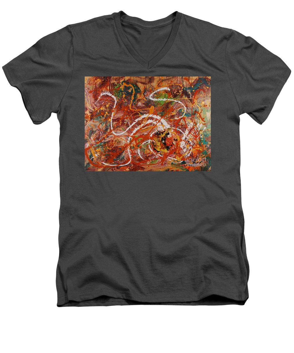 Orange Men's V-Neck T-Shirt featuring the painting Celebration II by Nadine Rippelmeyer