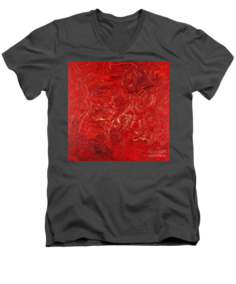 Red Men's V-Neck T-Shirt featuring the painting Celebration by Nadine Rippelmeyer