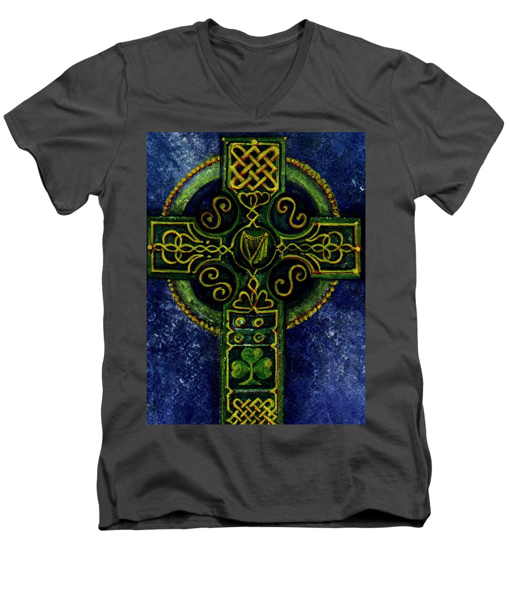 Elle Fagan Men's V-Neck T-Shirt featuring the painting Celtic Cross - Harp by Elle Smith Fagan