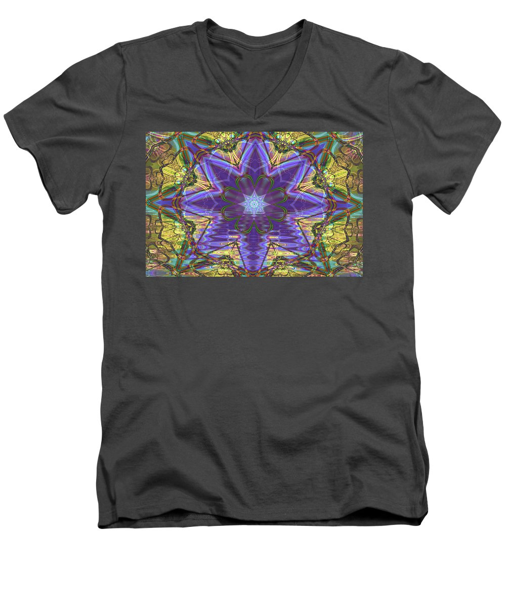 Abstract Men's V-Neck T-Shirt featuring the digital art Celtic Knot by Frederic Durville