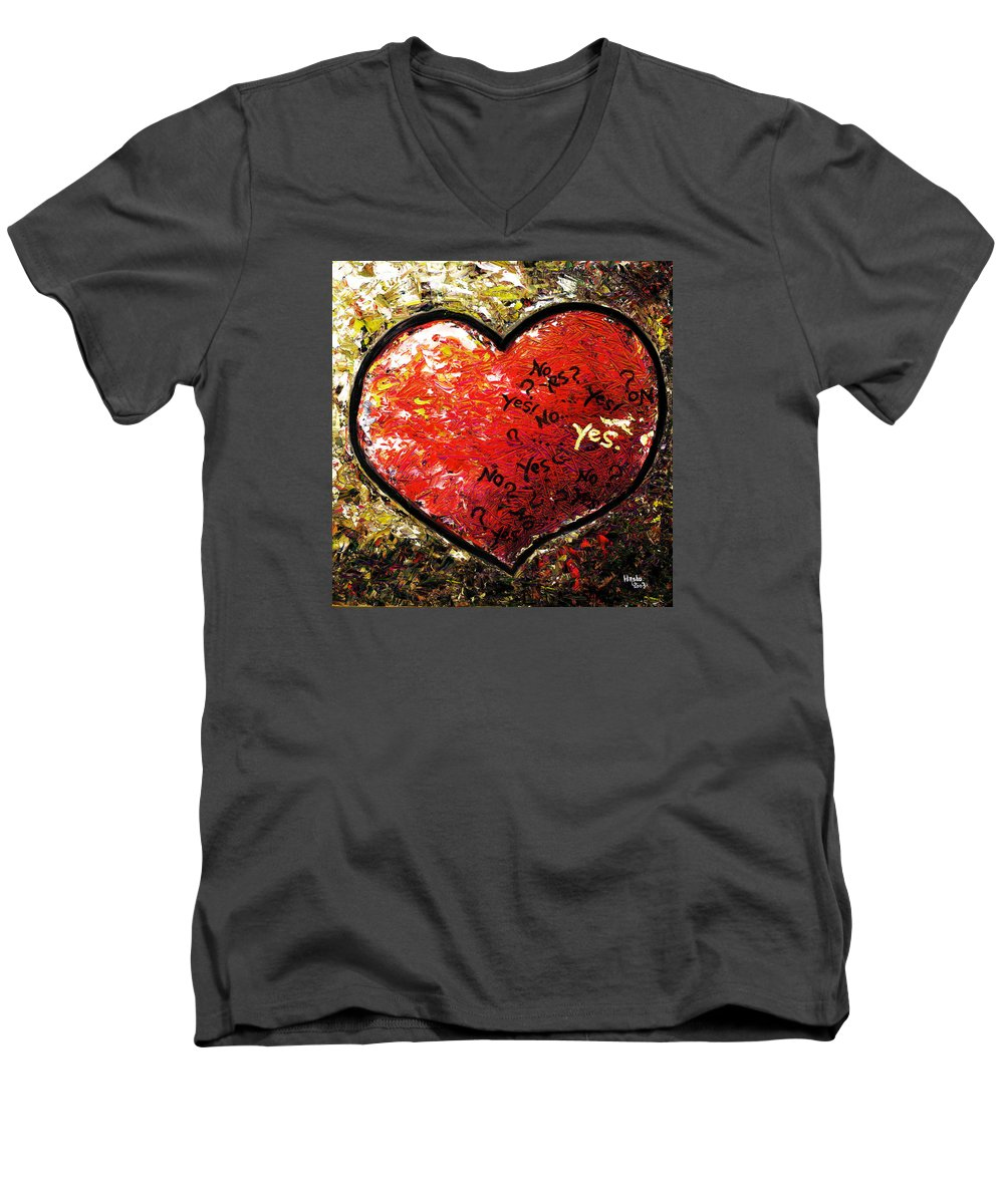 Pop Men's V-Neck T-Shirt featuring the painting Chaos In Heart by Hiroko Sakai