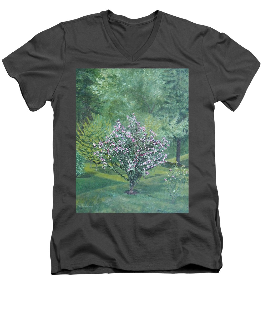 Blooming Men's V-Neck T-Shirt featuring the painting Charles Street by Leah Tomaino