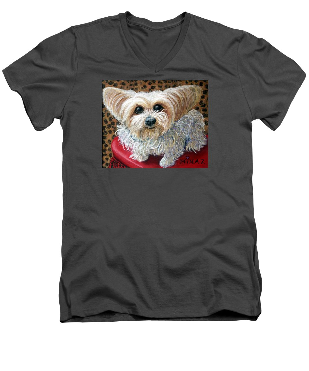 Dog Men's V-Neck T-Shirt featuring the painting My Friend by Minaz Jantz