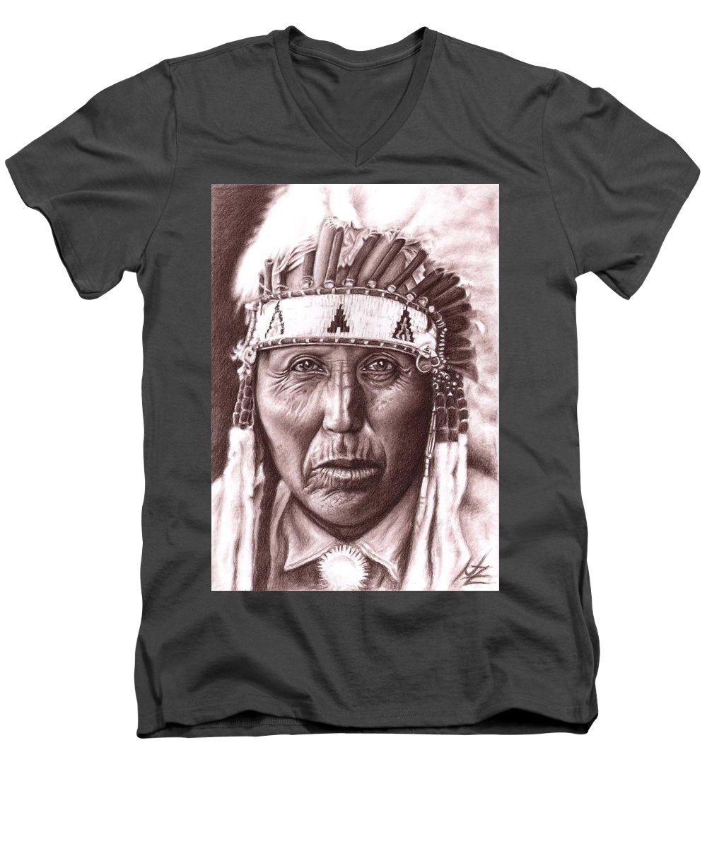 Indian Men's V-Neck T-Shirt featuring the drawing Cherokee by Nicole Zeug