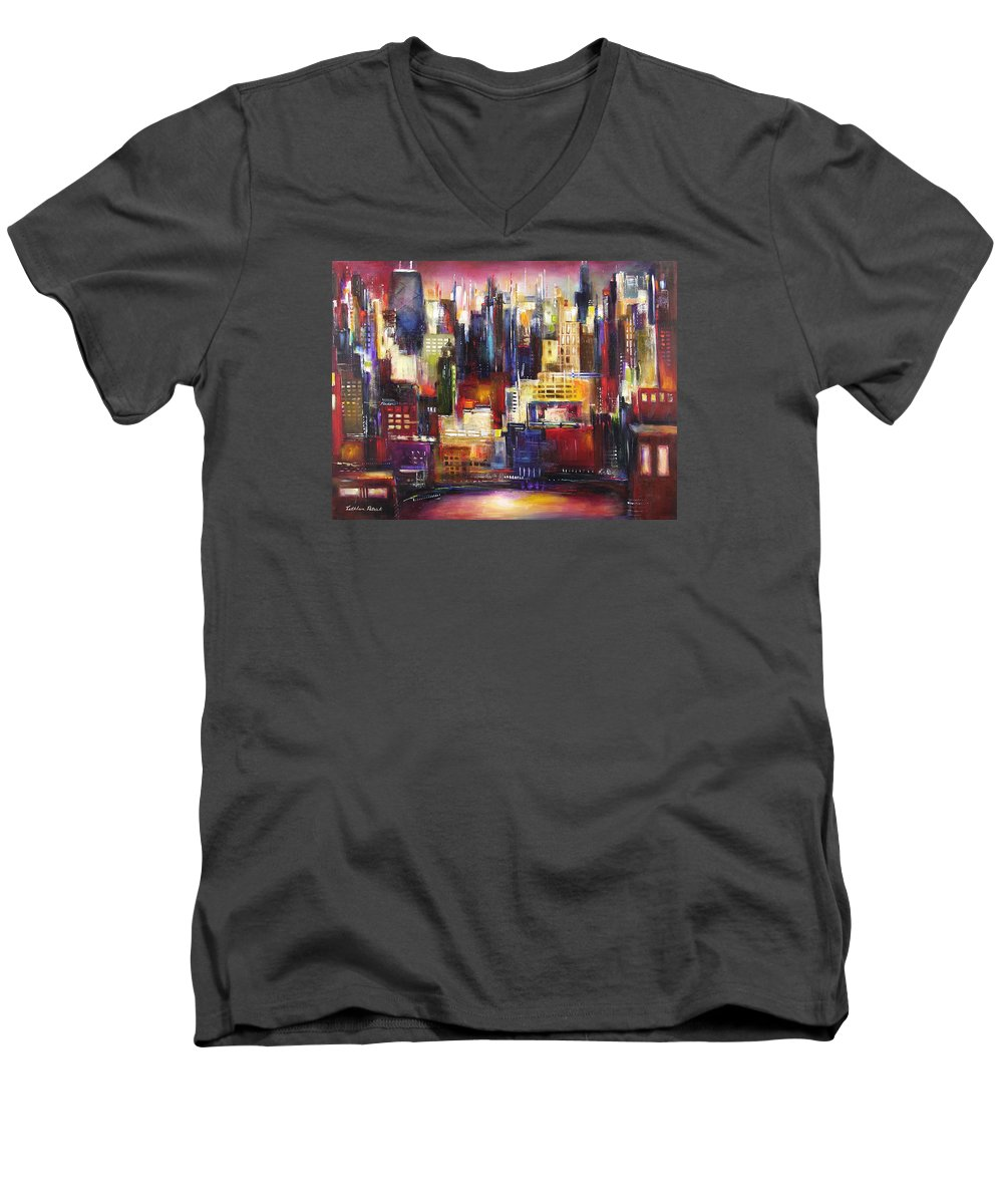 Chicago Art Men's V-Neck T-Shirt featuring the painting Chicago City View by Kathleen Patrick