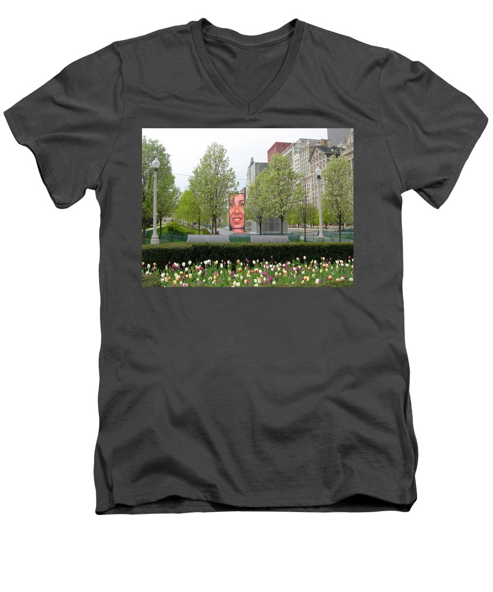 Chicago Men's V-Neck T-Shirt featuring the photograph Chicago by Jean Macaluso