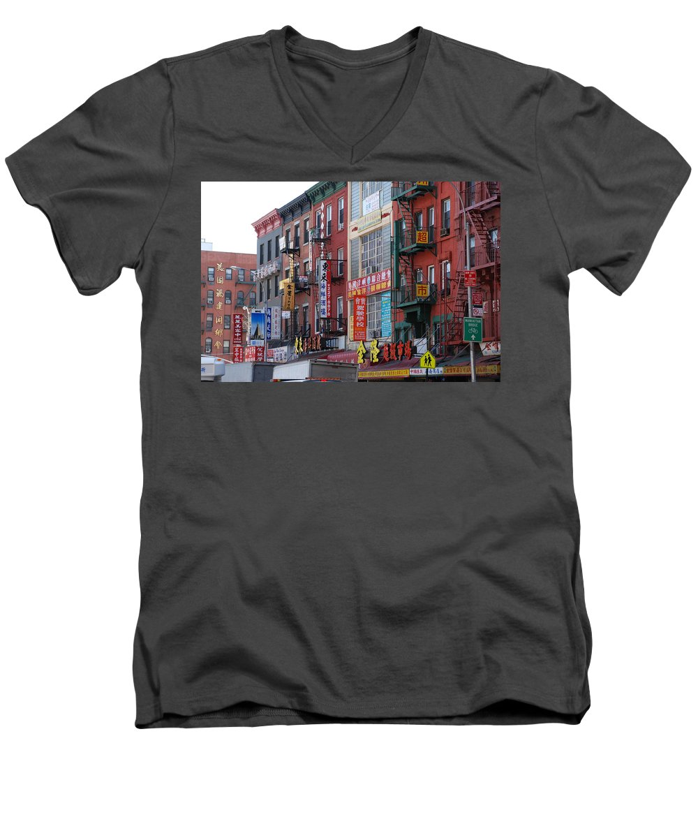 Architecture Men's V-Neck T-Shirt featuring the photograph China Town Buildings by Rob Hans