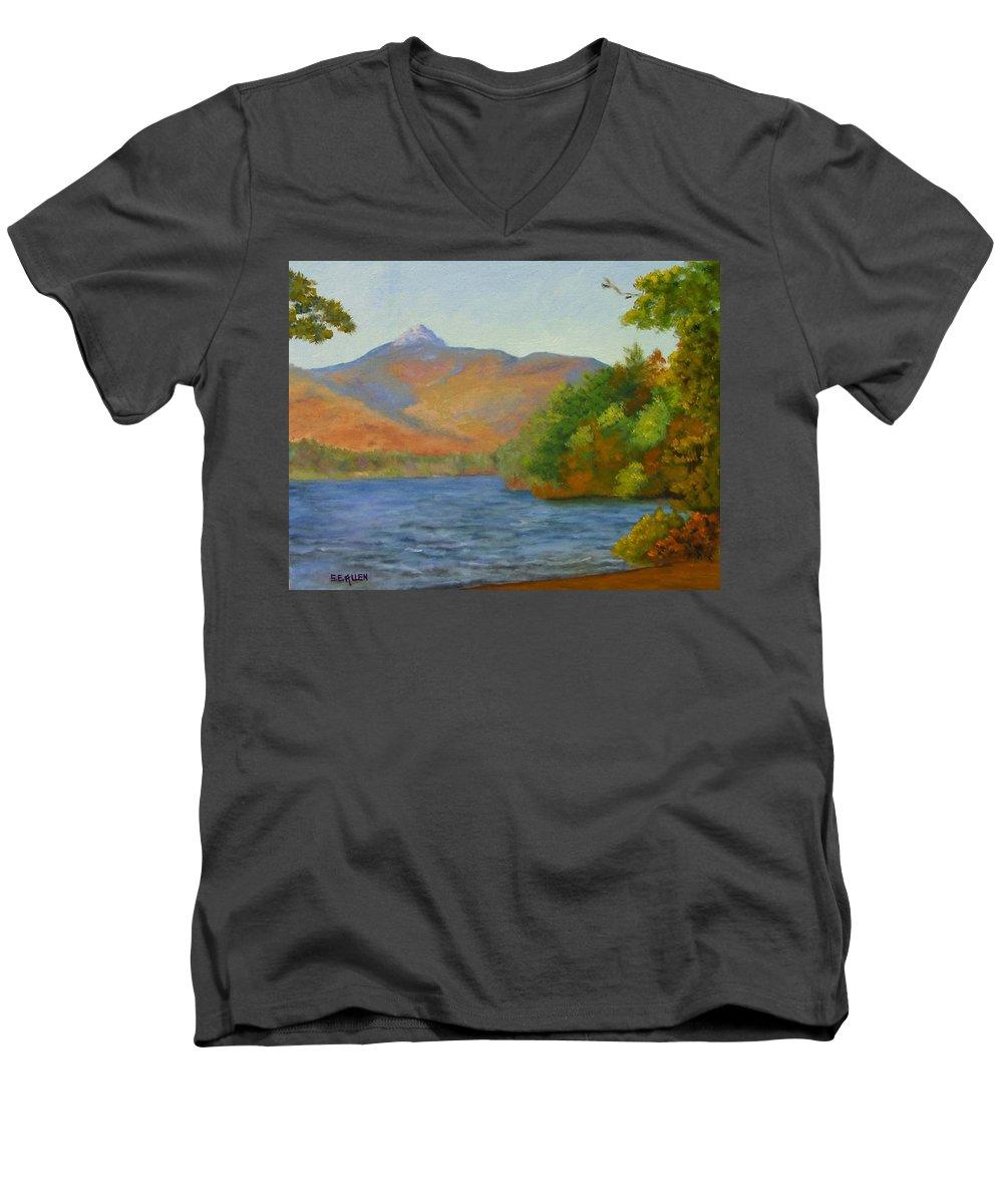 Mount Chocorua And Chocorua Lake Men's V-Neck T-Shirt featuring the painting Chocorua by Sharon E Allen