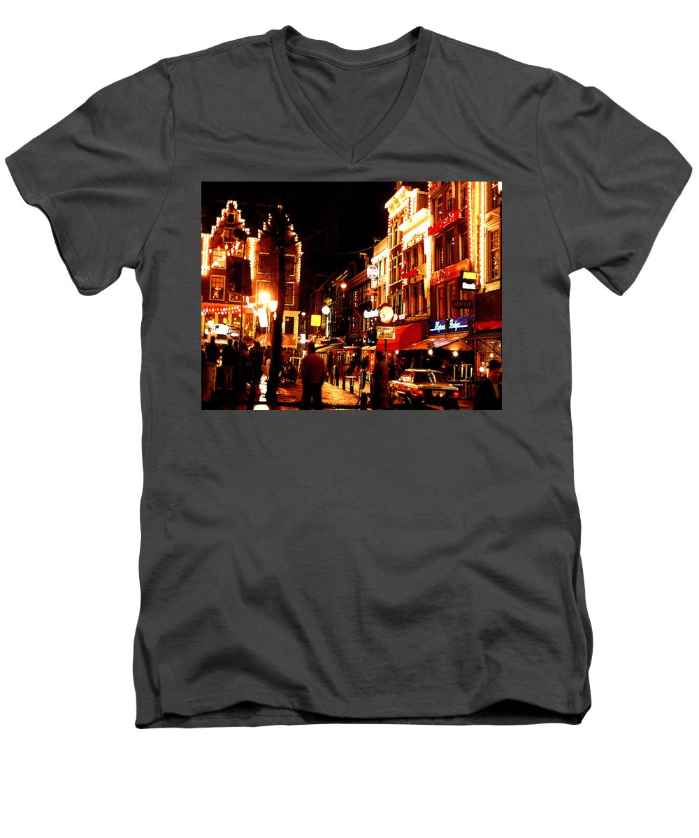 Night Men's V-Neck T-Shirt featuring the photograph Christmas In Amsterdam by Nancy Mueller