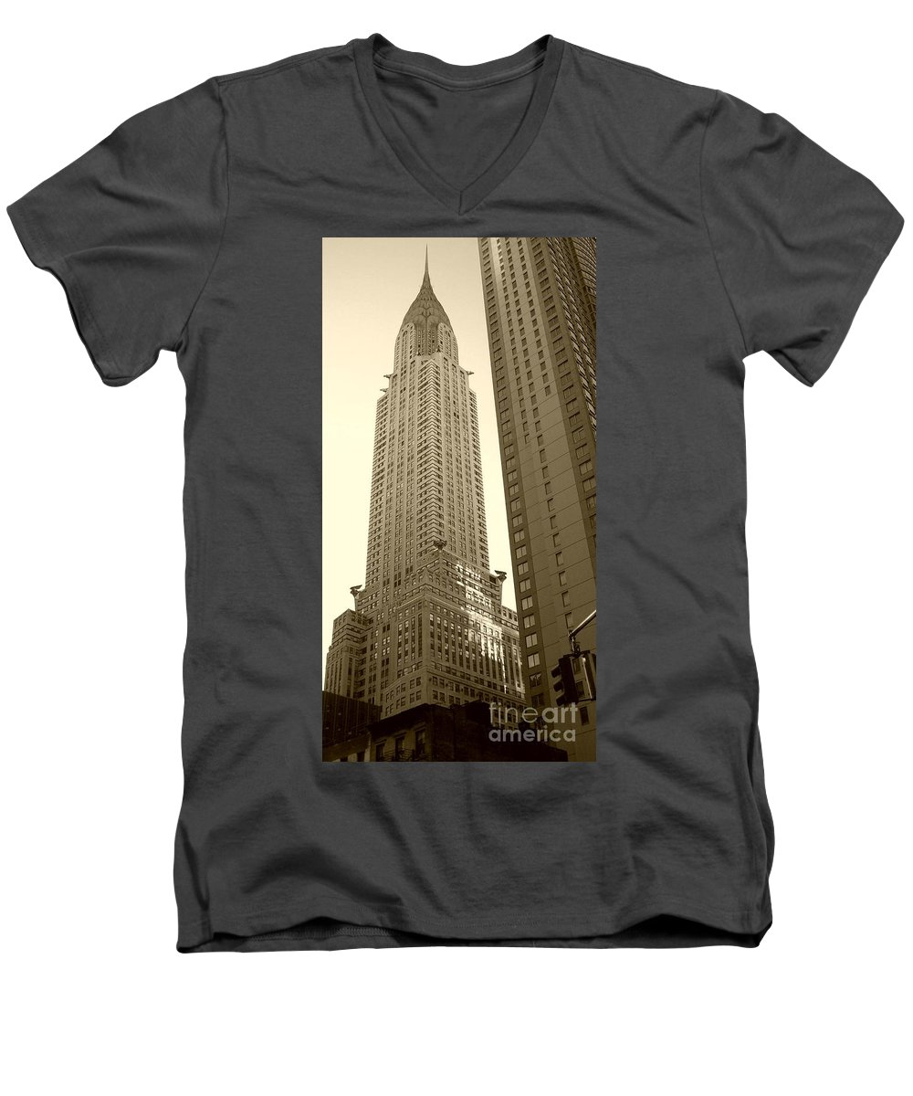 New York Men's V-Neck T-Shirt featuring the photograph Chrysler Building by Debbi Granruth