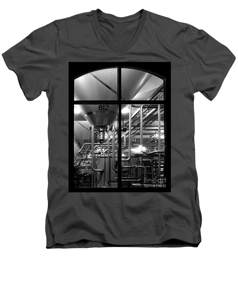 Black And White Men's V-Neck T-Shirt featuring the photograph Church Of Modern Man by Peter Piatt