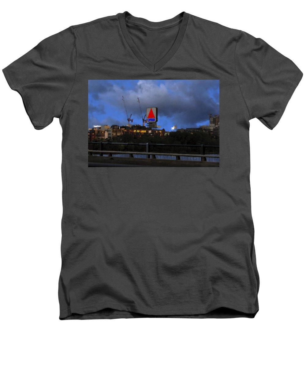Citgo Sign Men's V-Neck T-Shirt featuring the digital art Citgo Sign by Edward Cardini