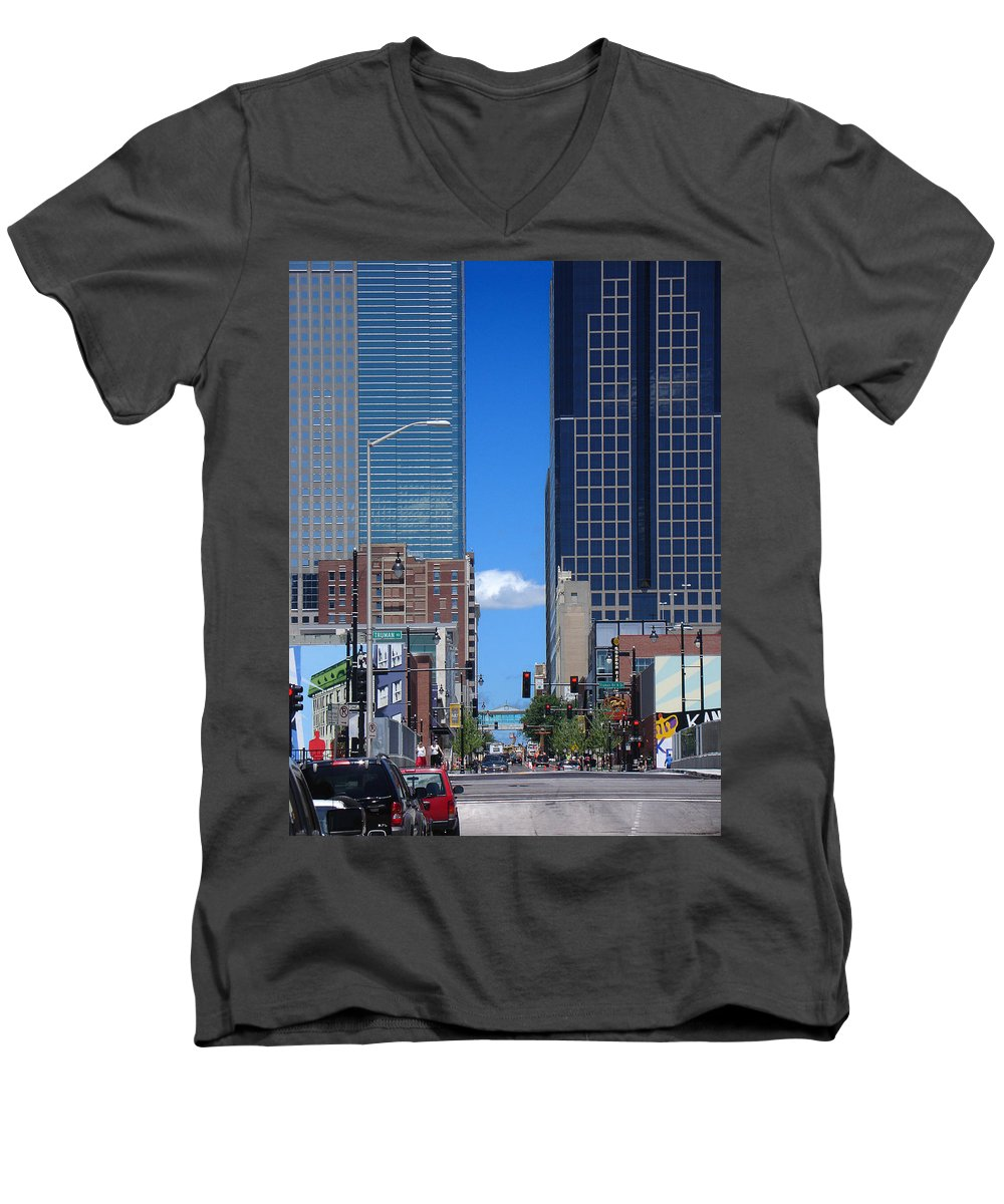 Kansas City Men's V-Neck T-Shirt featuring the photograph City Street Canyon by Steve Karol