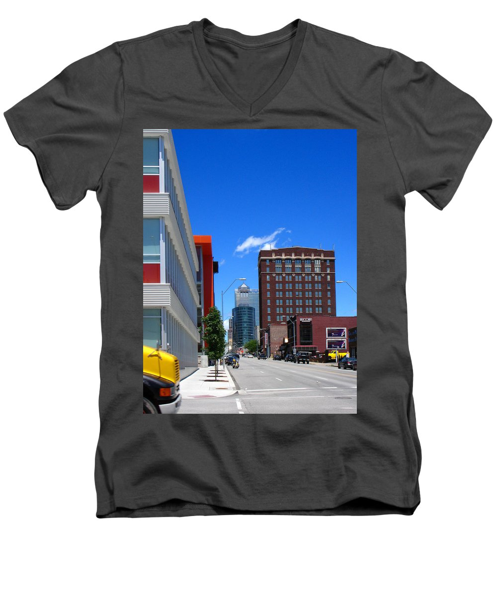 Kansas City Men's V-Neck T-Shirt featuring the photograph City Street by Steve Karol