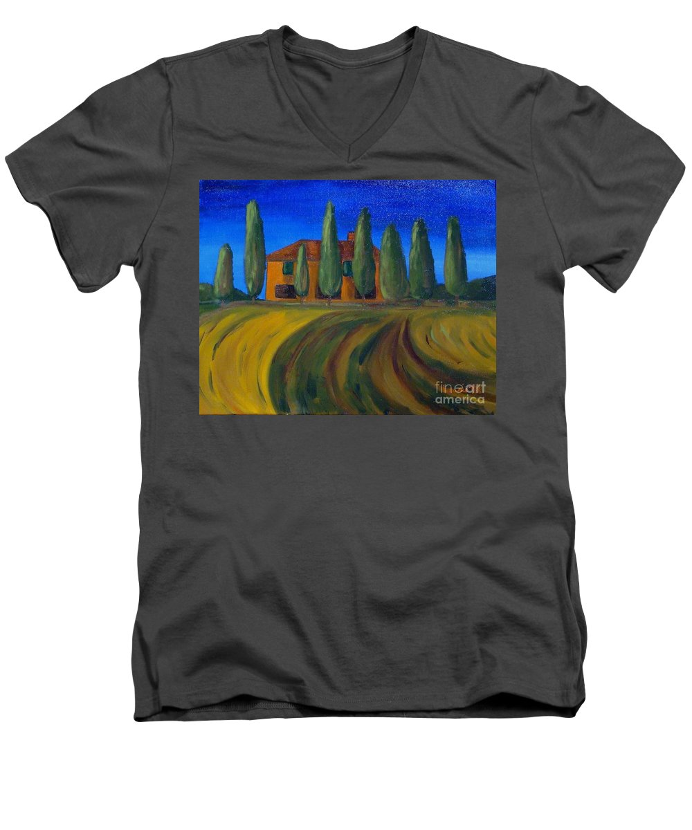 Tuscany Men's V-Neck T-Shirt featuring the painting Classic Tuscan Sunset by Laurie Morgan