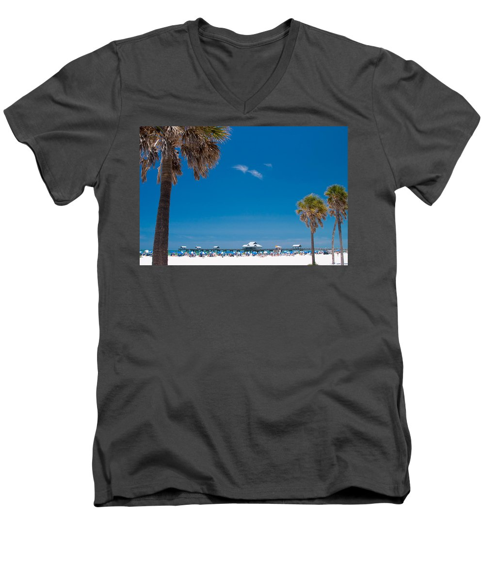 3scape Men's V-Neck T-Shirt featuring the photograph Clearwater Beach by Adam Romanowicz