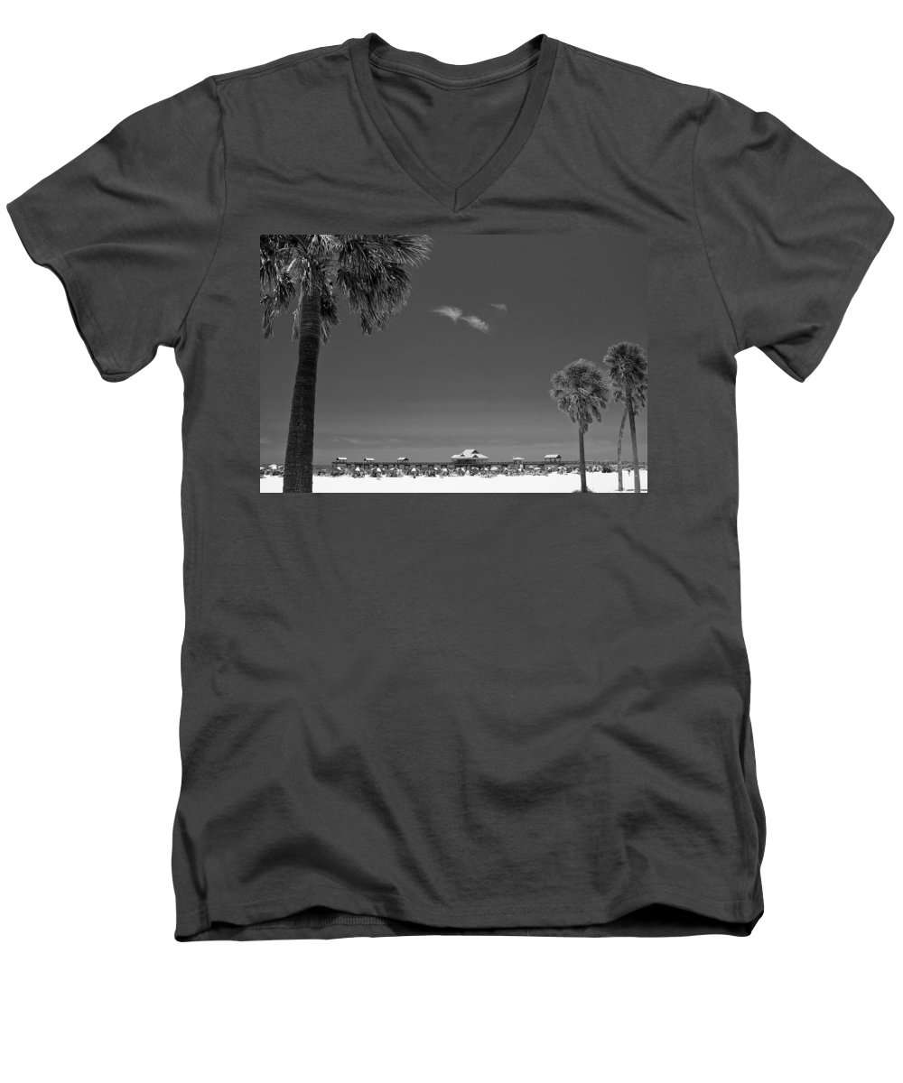 B&w Men's V-Neck T-Shirt featuring the photograph Clearwater Beach Bw by Adam Romanowicz