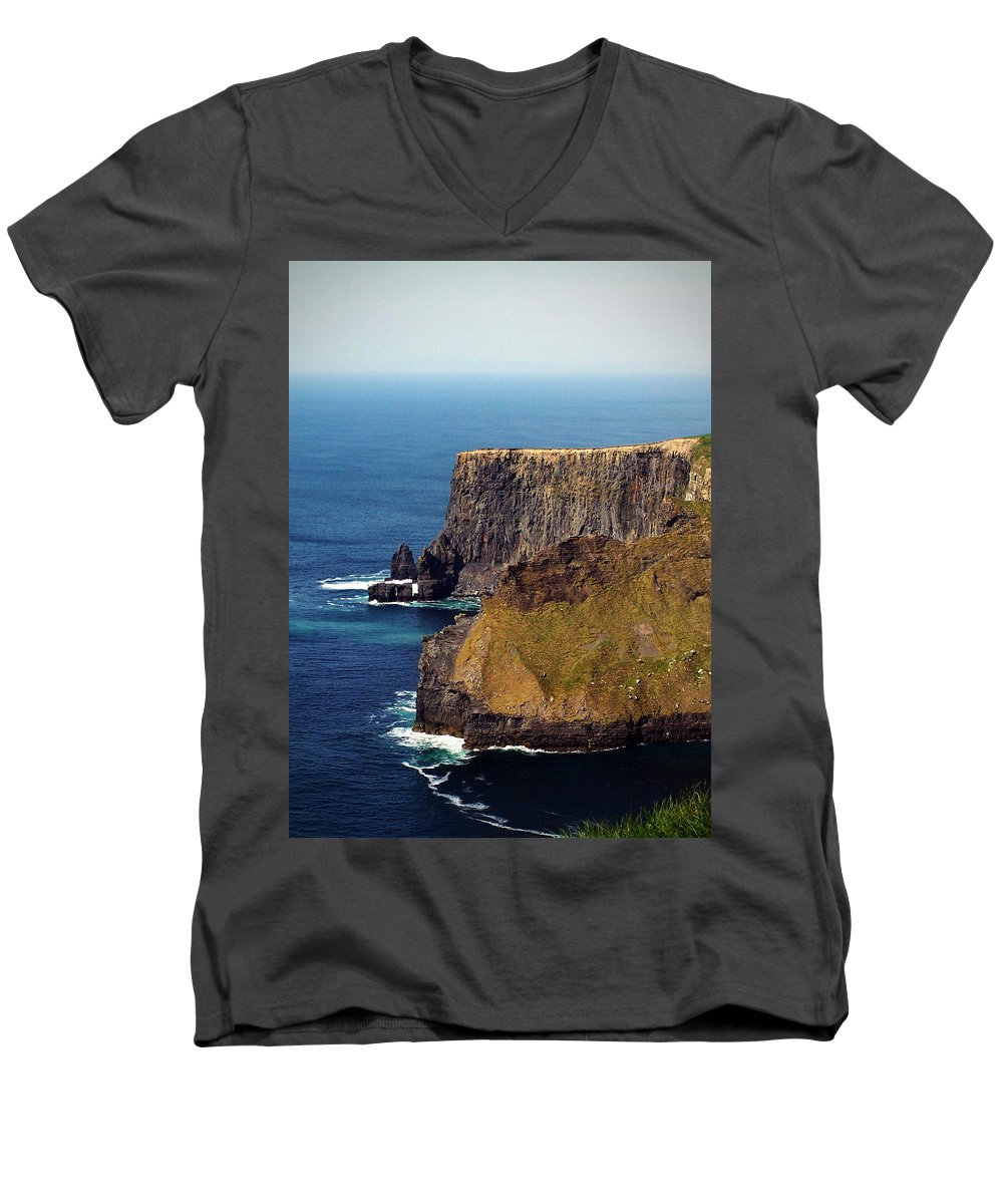Irish Men's V-Neck T-Shirt featuring the photograph Cliffs Of Moher Ireland View Of Aill Na Searrach by Teresa Mucha