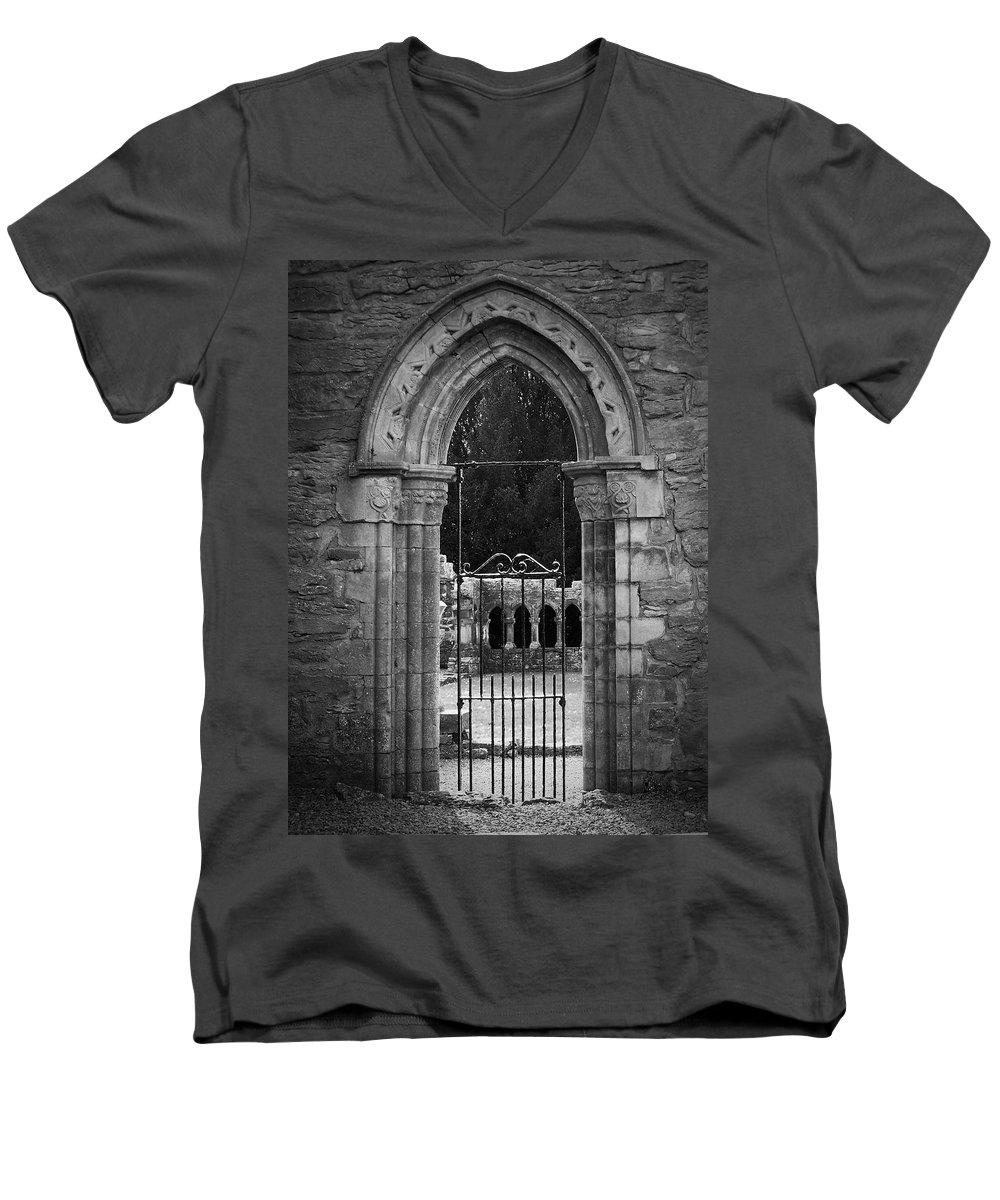 Irish Men's V-Neck T-Shirt featuring the photograph Cloister View Cong Abbey Cong Ireland by Teresa Mucha