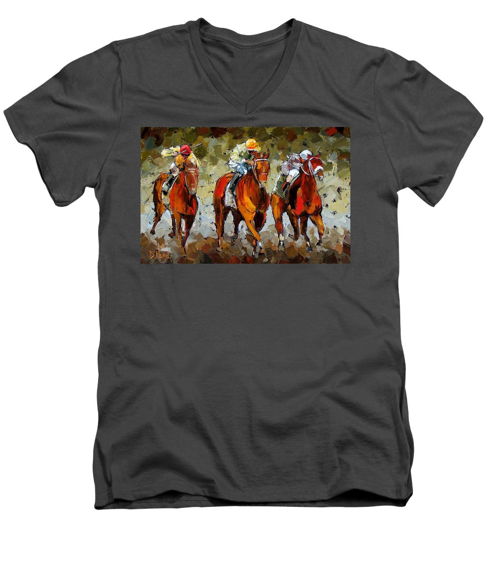 Horses Men's V-Neck T-Shirt featuring the painting Close Race by Debra Hurd