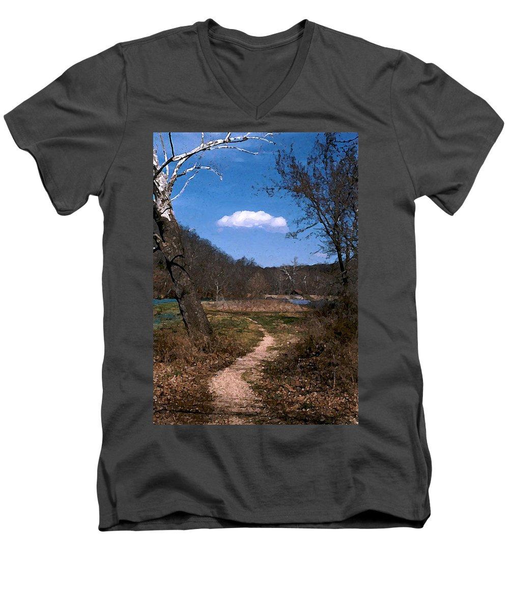 Landscape Men's V-Neck T-Shirt featuring the photograph Cloud Destination by Steve Karol