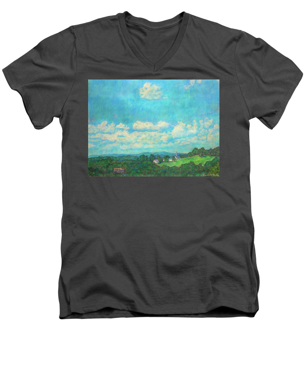 Landscape Men's V-Neck T-Shirt featuring the painting Clouds Over Fairlawn by Kendall Kessler