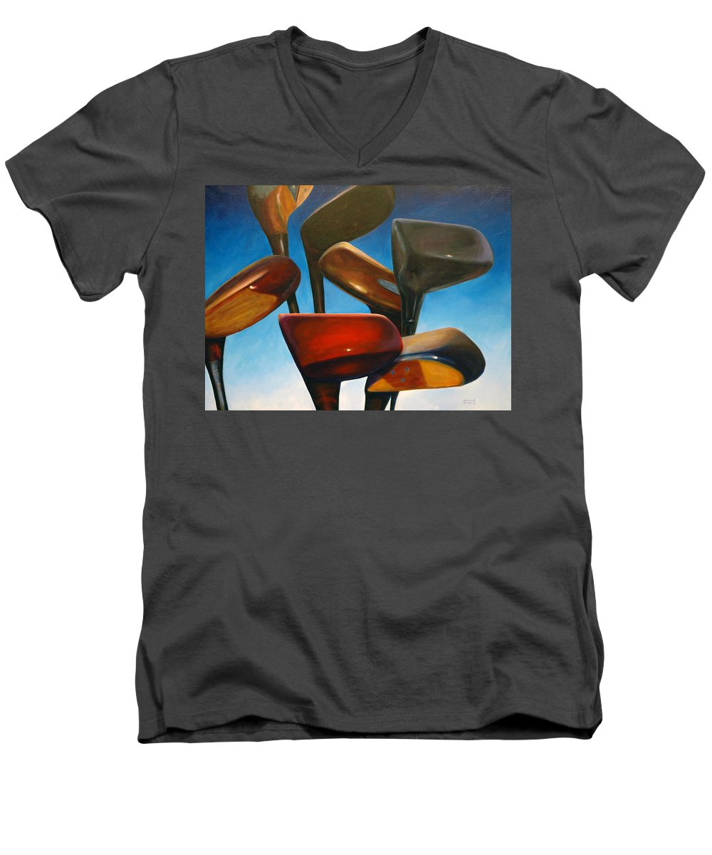 Golf Clubs Brown Men's V-Neck T-Shirt featuring the painting Clubs Rising by Shannon Grissom