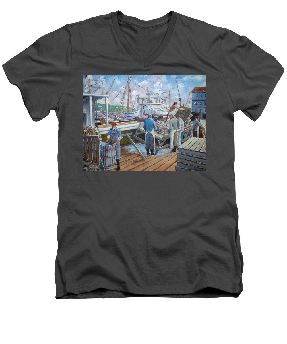 Cod Men's V-Neck T-Shirt featuring the painting Cod Memories by Richard T Pranke