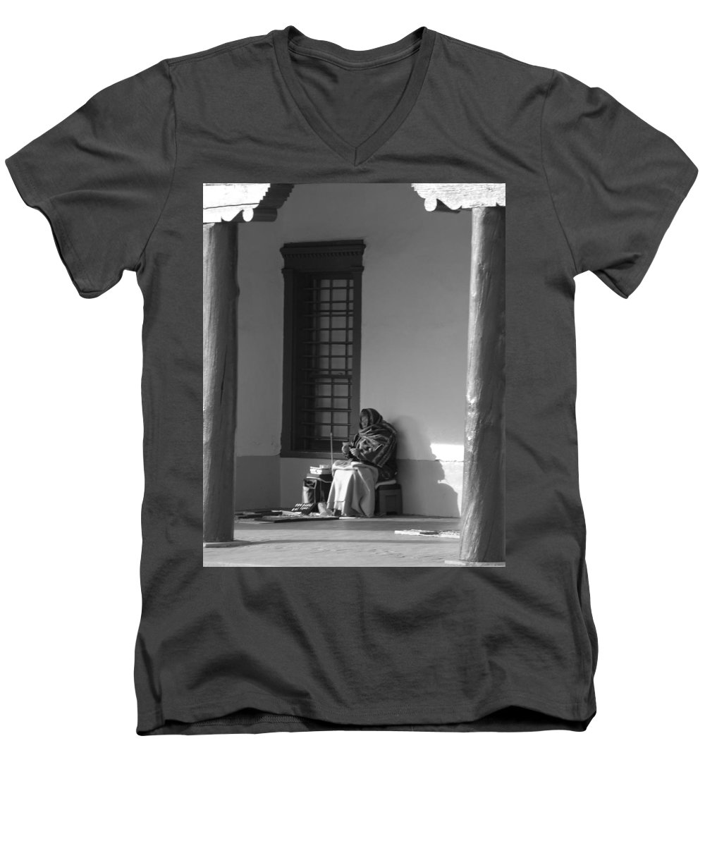 Southwestern Men's V-Neck T-Shirt featuring the photograph Cold Native American Woman by Rob Hans