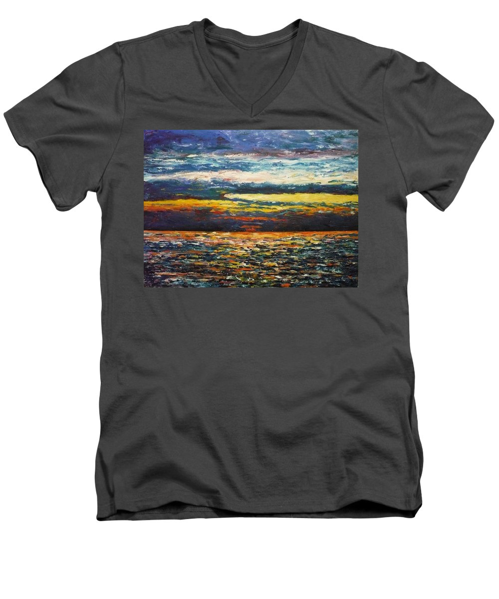 Landscape Men's V-Neck T-Shirt featuring the painting Cold Sunset by Ericka Herazo