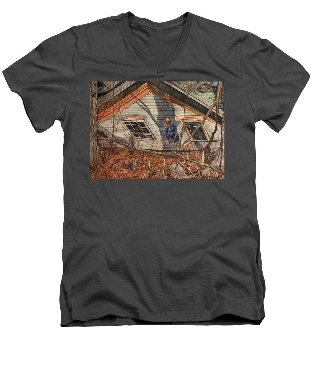 Children Men's V-Neck T-Shirt featuring the painting Collapsed by Valerie Patterson