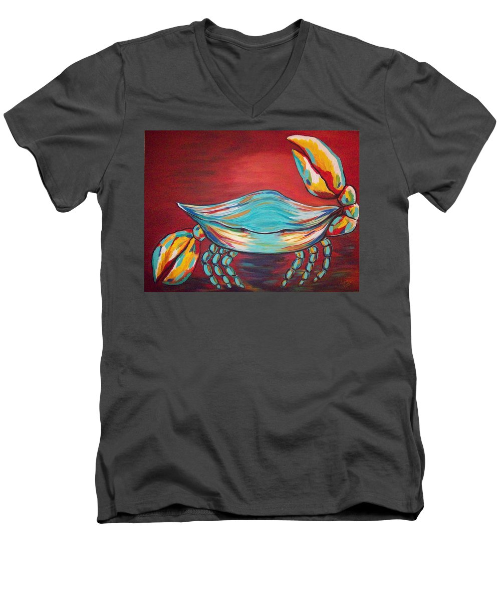Sealife Men's V-Neck T-Shirt featuring the painting Colorful Crab by Angela Miles Varnado