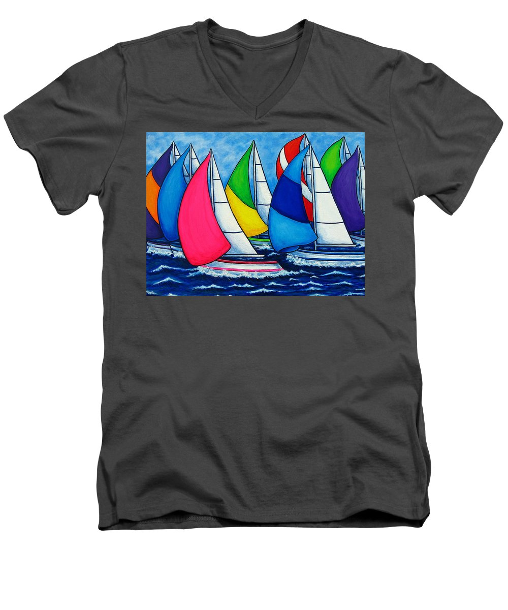 Boats Men's V-Neck T-Shirt featuring the painting Colourful Regatta by Lisa Lorenz