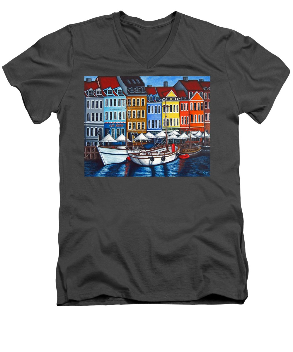 Nyhavn Men's V-Neck T-Shirt featuring the painting Colours Of Nyhavn by Lisa Lorenz