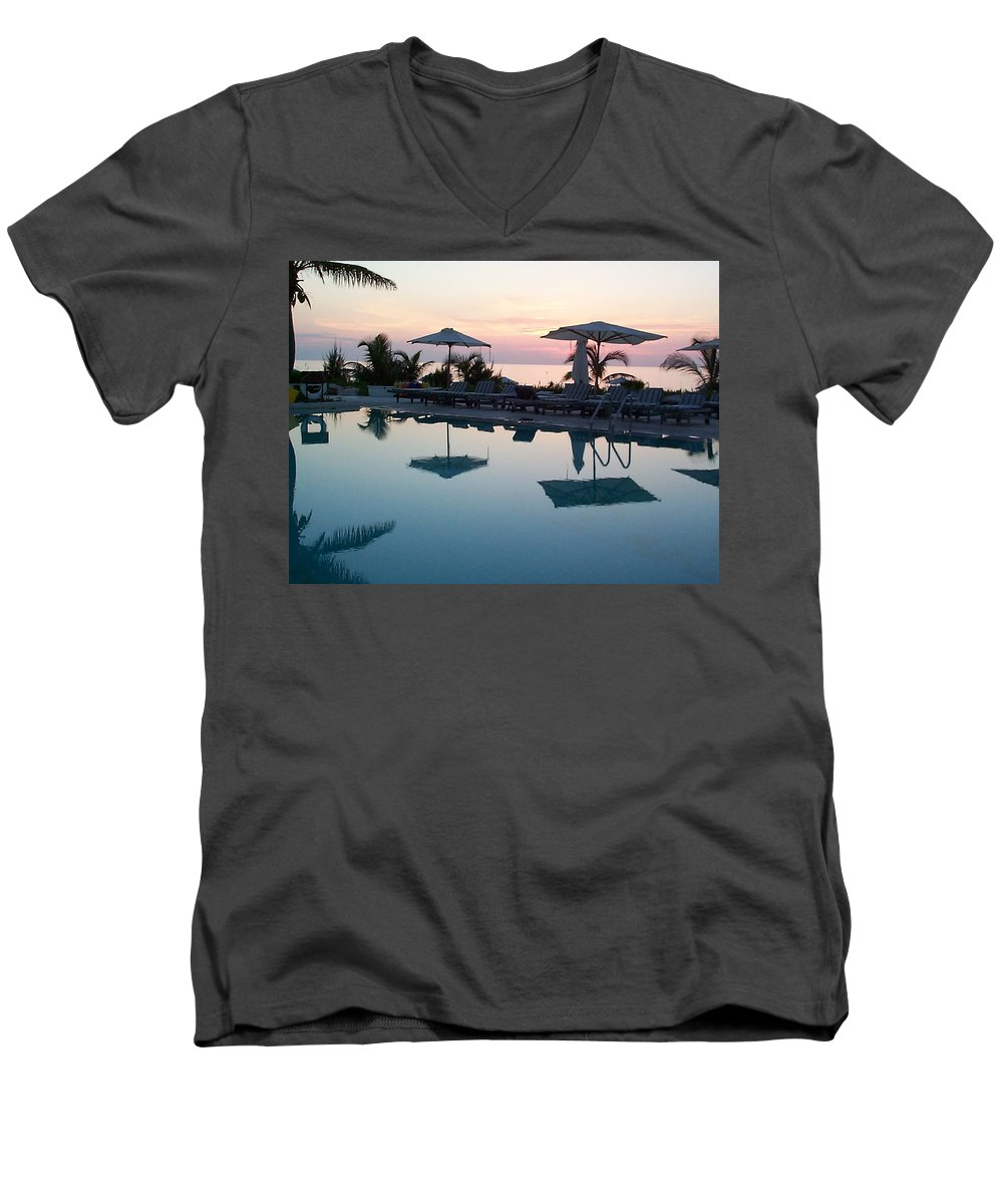 Charity Men's V-Neck T-Shirt featuring the photograph Columbus Isle by Mary-Lee Sanders
