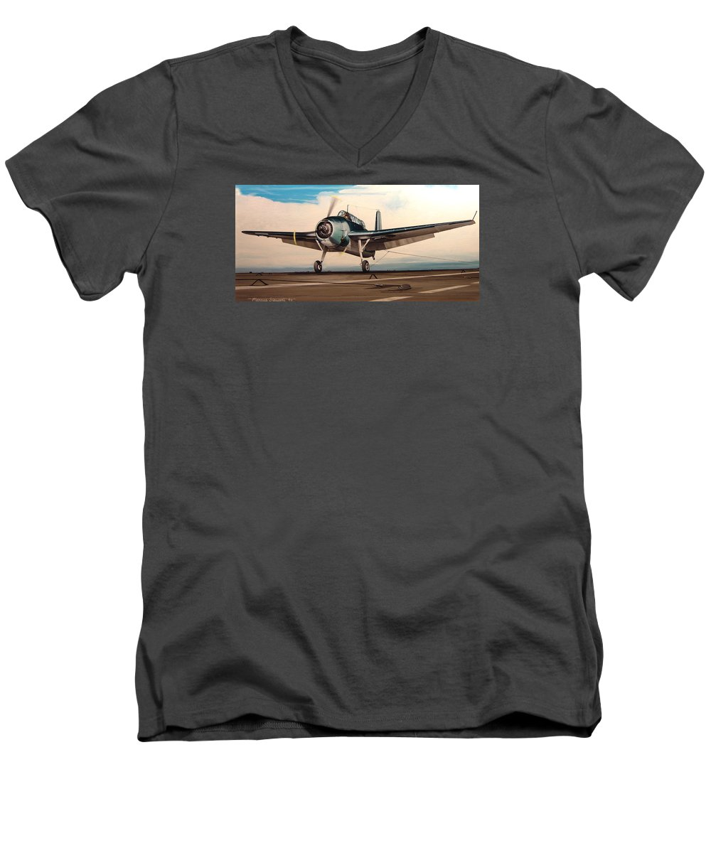 Painting Men's V-Neck T-Shirt featuring the painting Coming Aboard by Marc Stewart