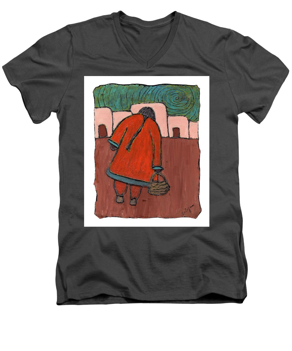 Southwest Men's V-Neck T-Shirt featuring the painting Coming Home by Wayne Potrafka