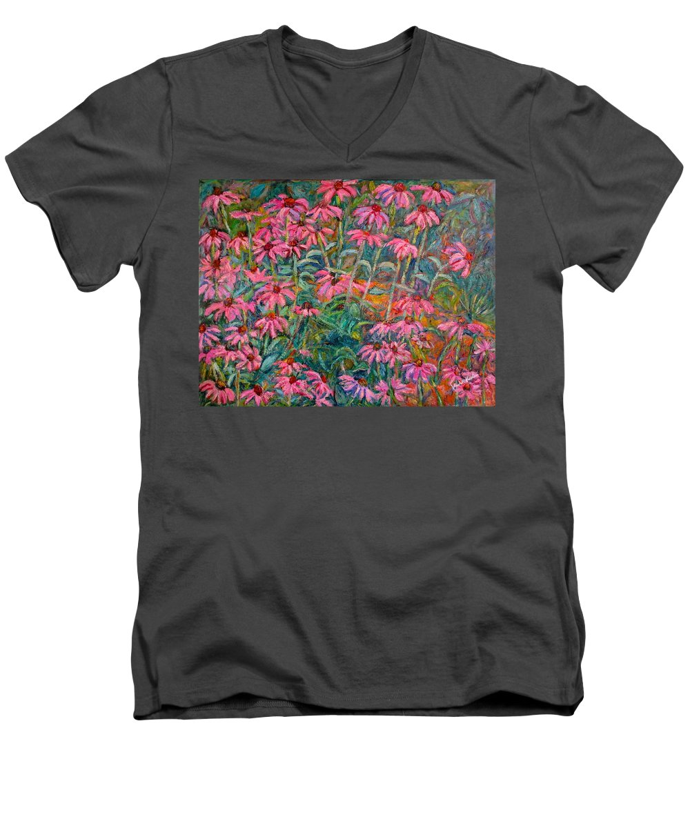 Kendall Kessler Men's V-Neck T-Shirt featuring the painting Coneflowers by Kendall Kessler