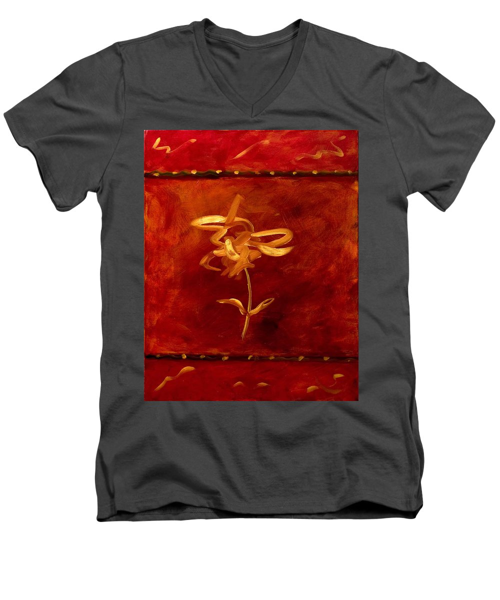 Abstract Men's V-Neck T-Shirt featuring the painting Confidence by Shannon Grissom