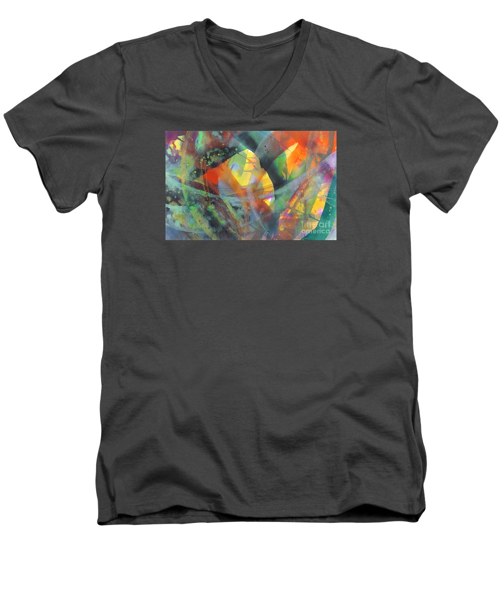 Abstract Men's V-Neck T-Shirt featuring the painting Connections by Lucy Arnold