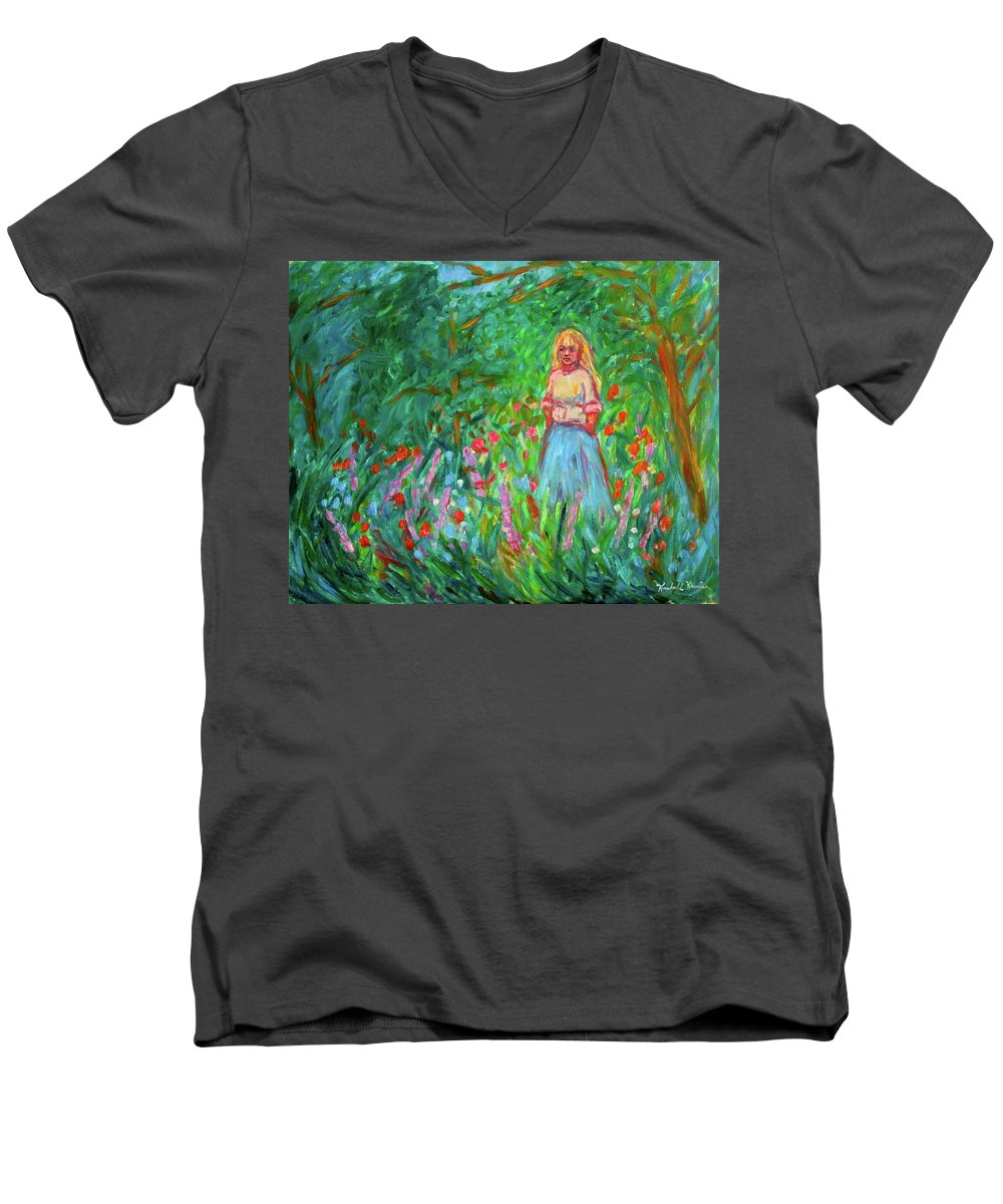 Landscape Men's V-Neck T-Shirt featuring the painting Contemplation by Kendall Kessler